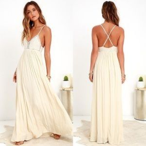 Lulus Hippie Boho Ivory Maxi Dress Size M